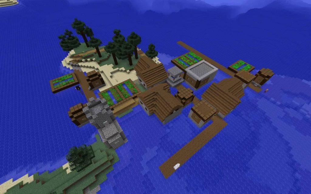 Island, Village, Ocean
