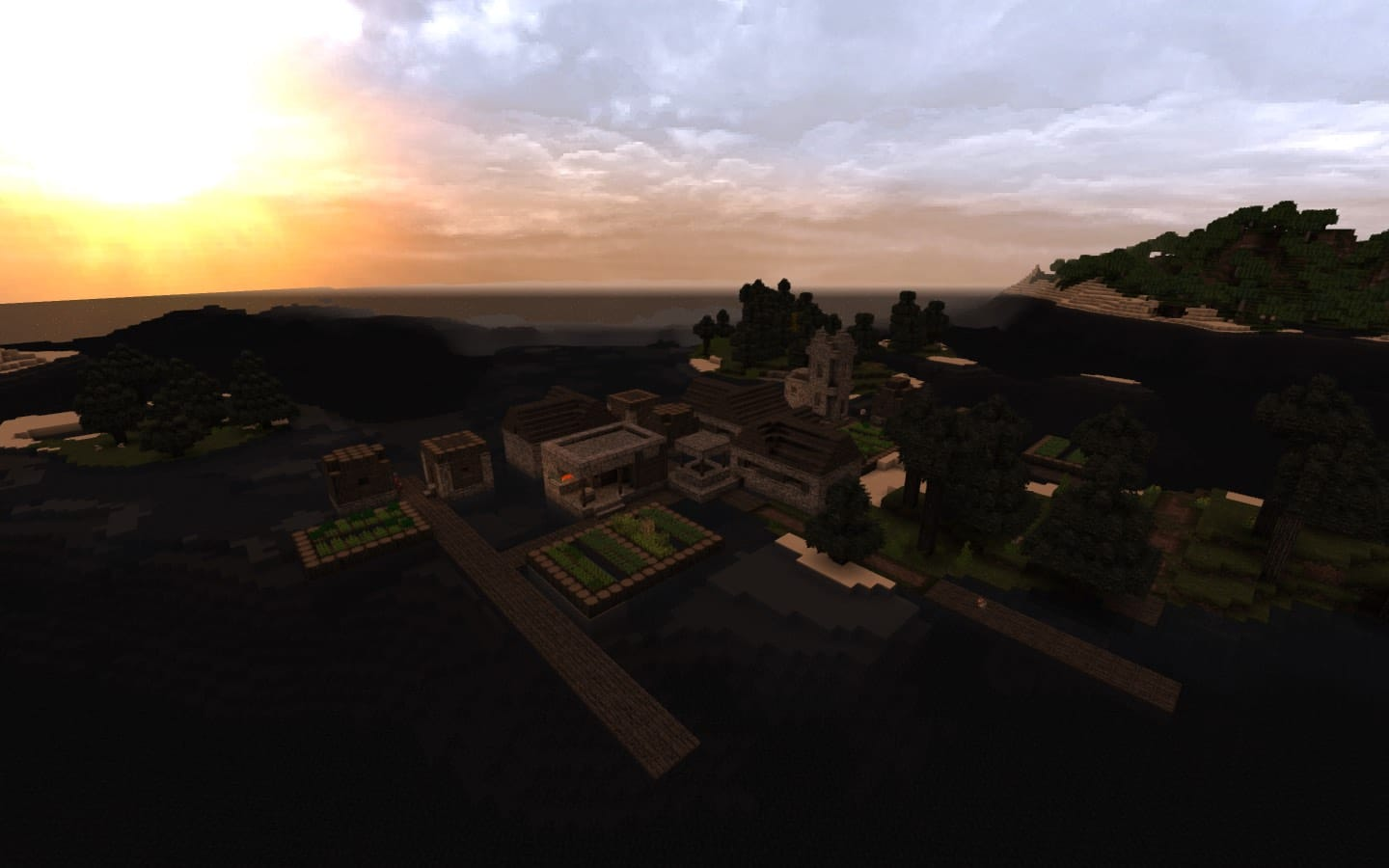 Minecraft Screenshot of Island Village at Sunset