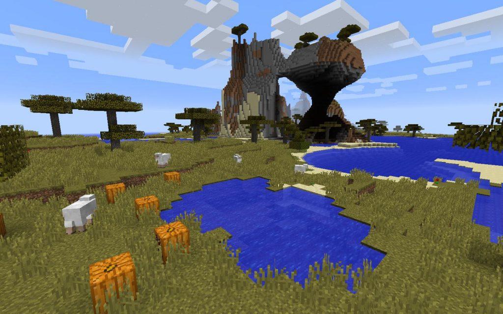 Island Savanna, Acacia Trees and Pumpkins