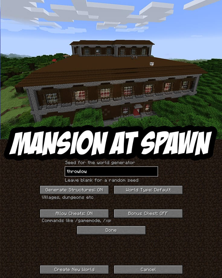 Spawn In A Roofed Forest Staring At A Mansion