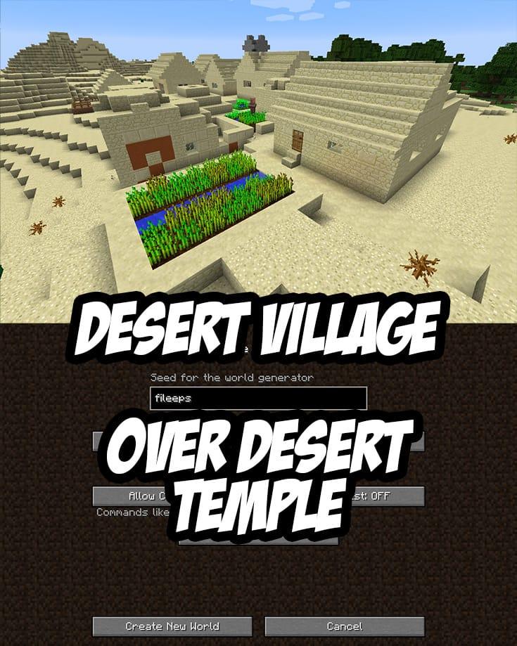Desert Village over Desert Temple at Spawn. Seed: fileeps