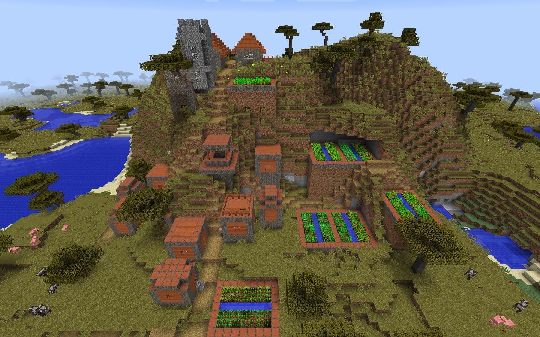 Mountainside Savanna Village at Spawn - Minecraft Seed HQ