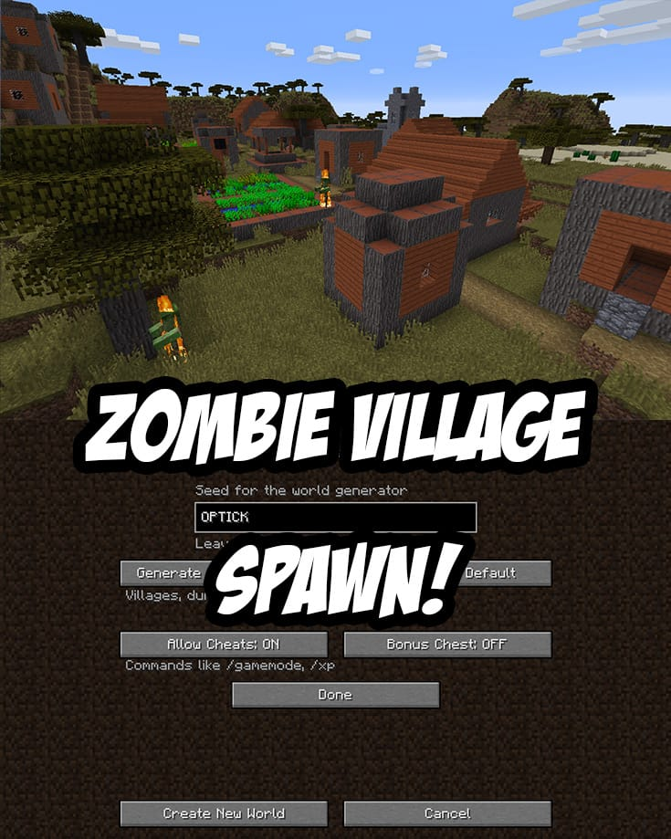 Zombie Village Spawn. Java Edition Seed:OPTICK