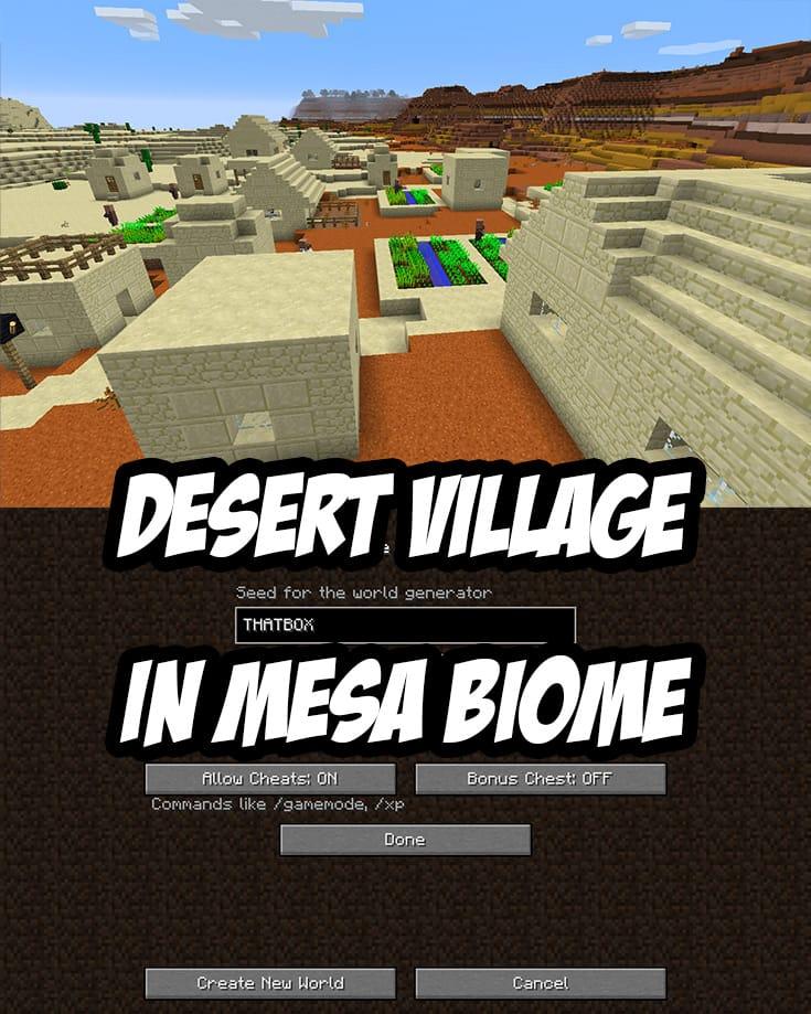 Mesa Village Seed: THATBOX -- Mesa Village is near spawn at -808 y 376