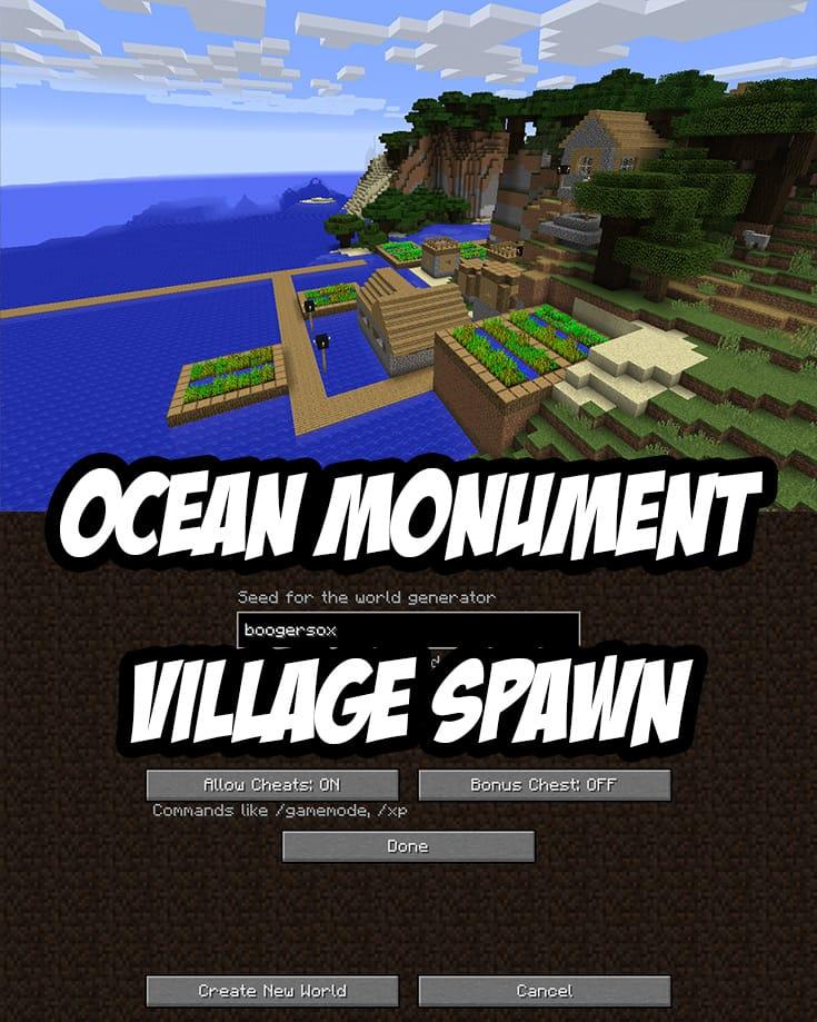 Ocean Monument & Seaside Village Seed (Java Edition): boogersox
