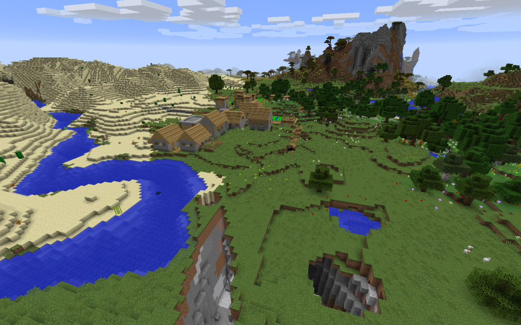 Ravine, Village and Mineshaft