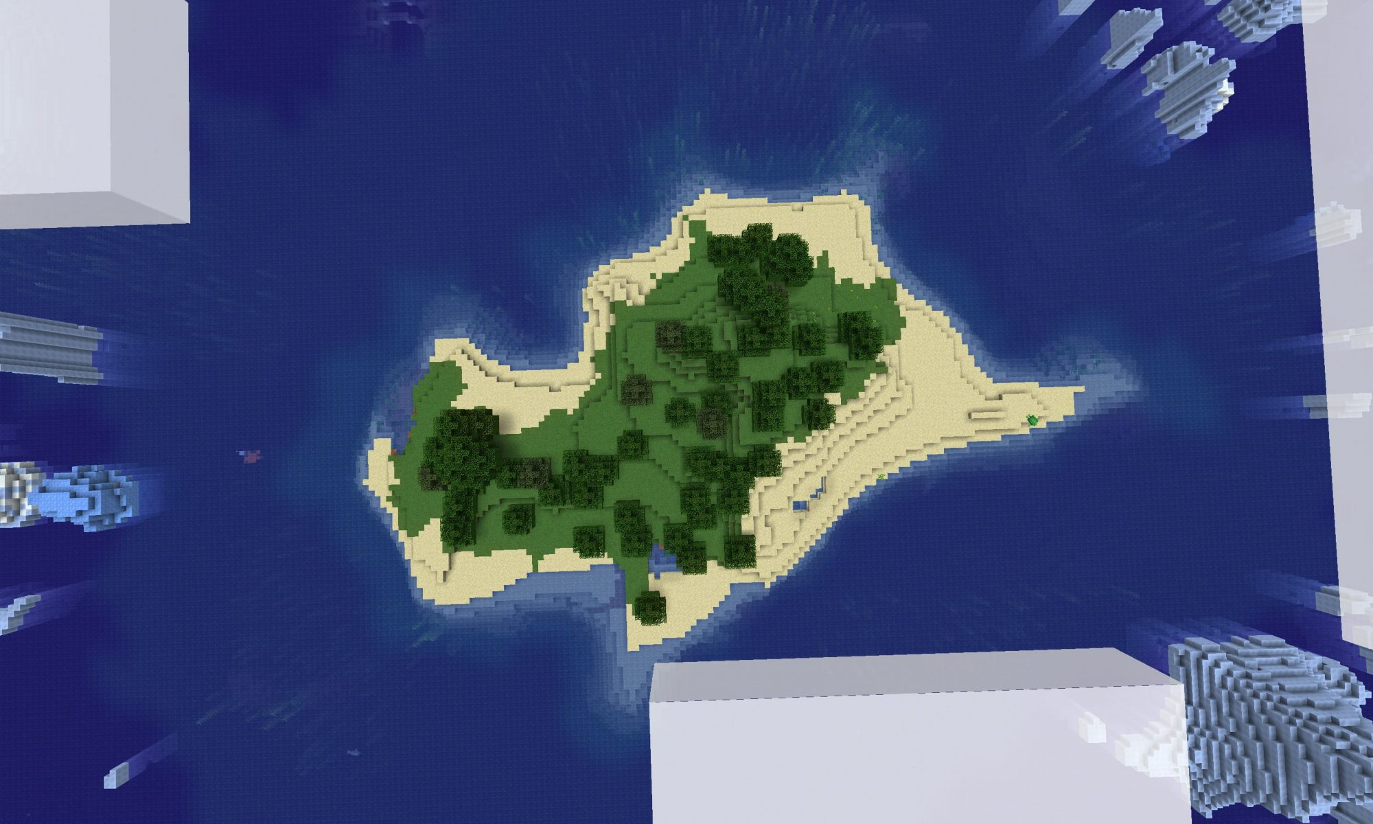 Island Surrounded by Icebergs Seed