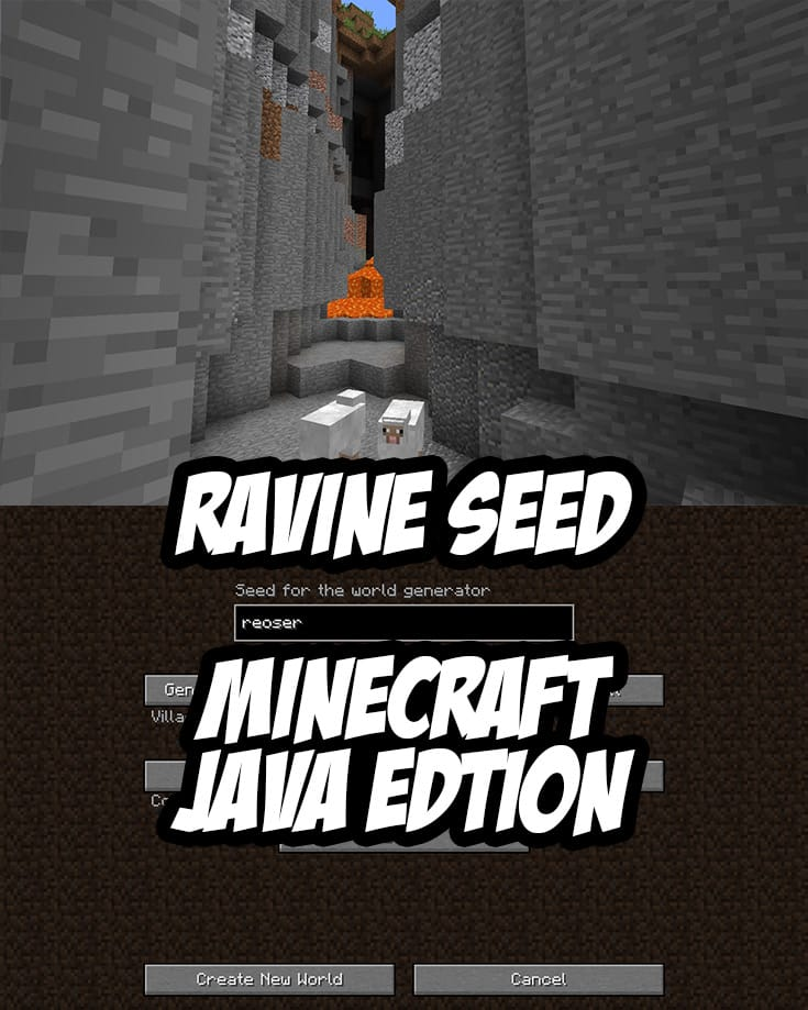Minecraft Java Edition Ravine Seed: reoser (or by number: -934547900). 1.10, 1.11, 1.12+
