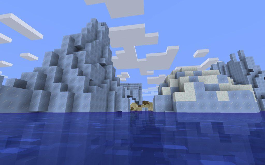 Shipwreck backside of iceberg on left