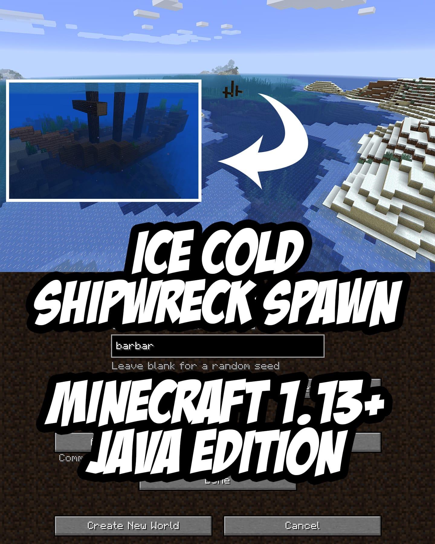 Minecraft 1.13+ Ice Cold Shipwreck Spawn Seed:barbar (-1396235488)