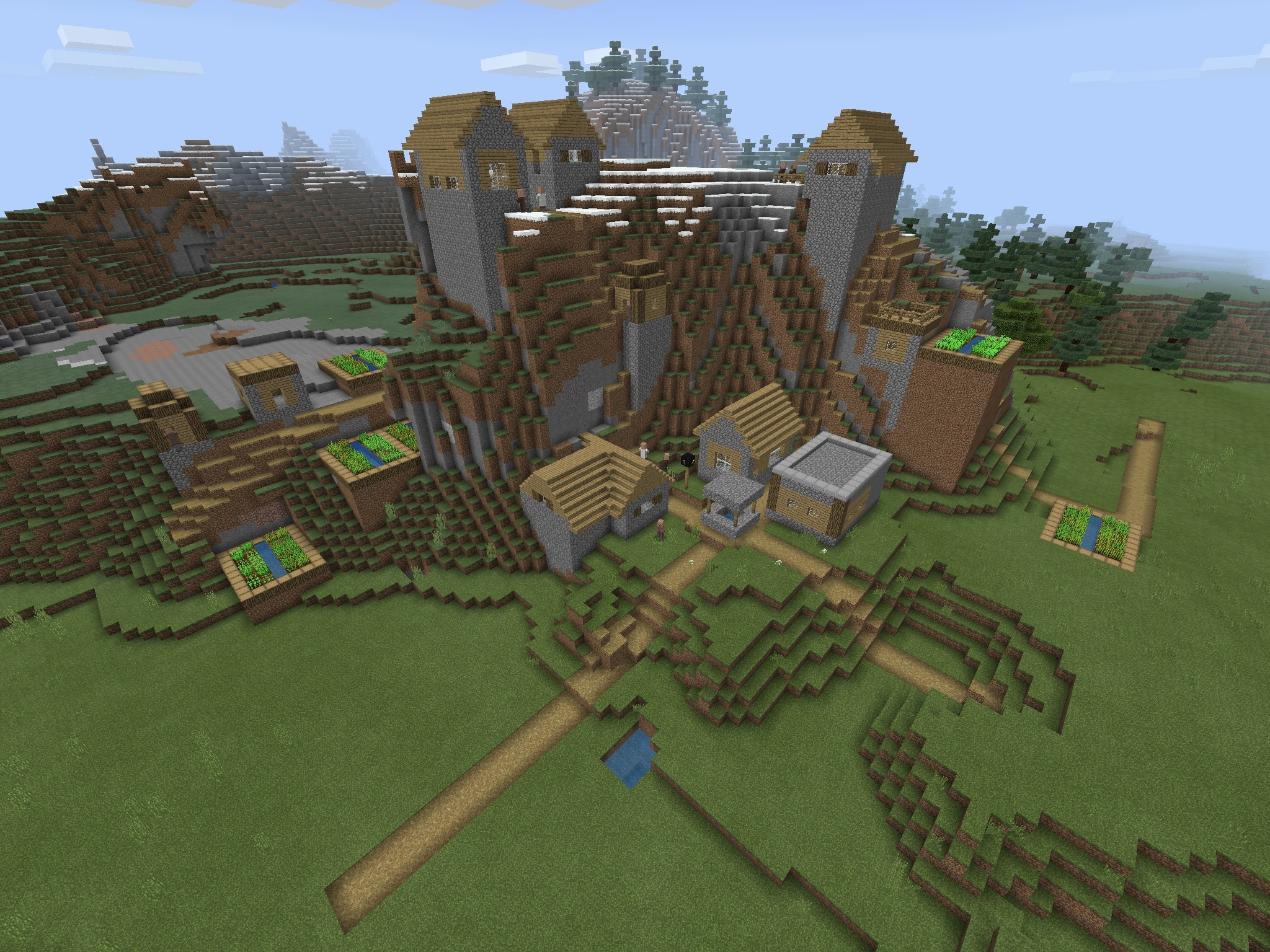 Mountain Blacksmith Village And Witch Hut Bedrock Minecraft Seed Hq