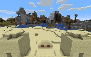 Minecraft Seed: Pyramid and Shattered Savanna Mountain