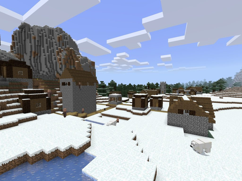 Snowy Villages and Ravines [Minecraft PE Seed]