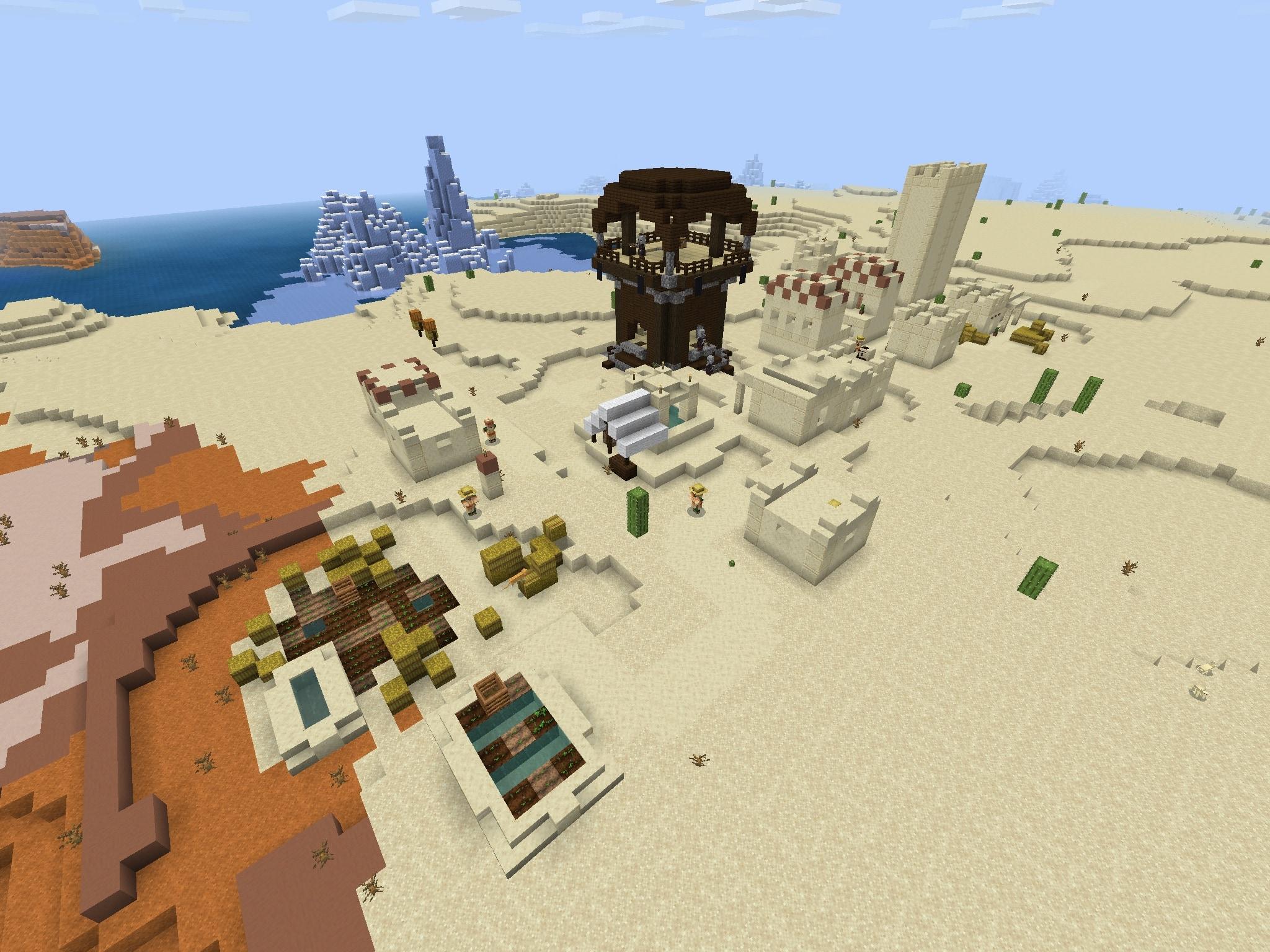 PE/Bedrock Pillager Outpost Seed + Village, Badlands [1 10