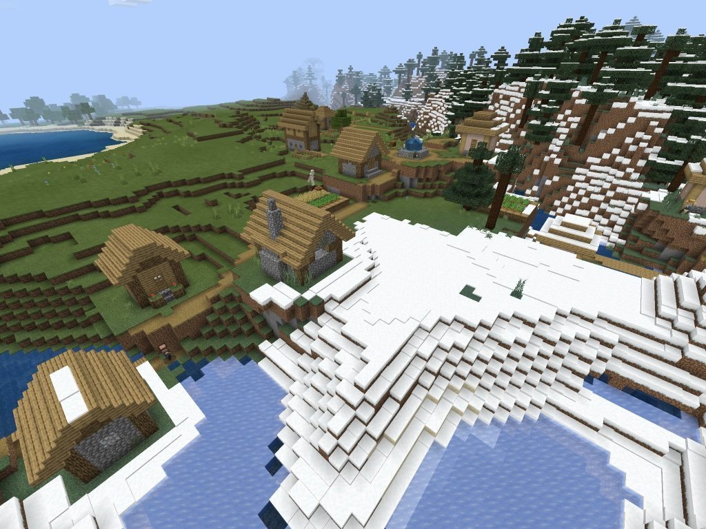Snow Spawn Village Minecraft Seed Bedrock
