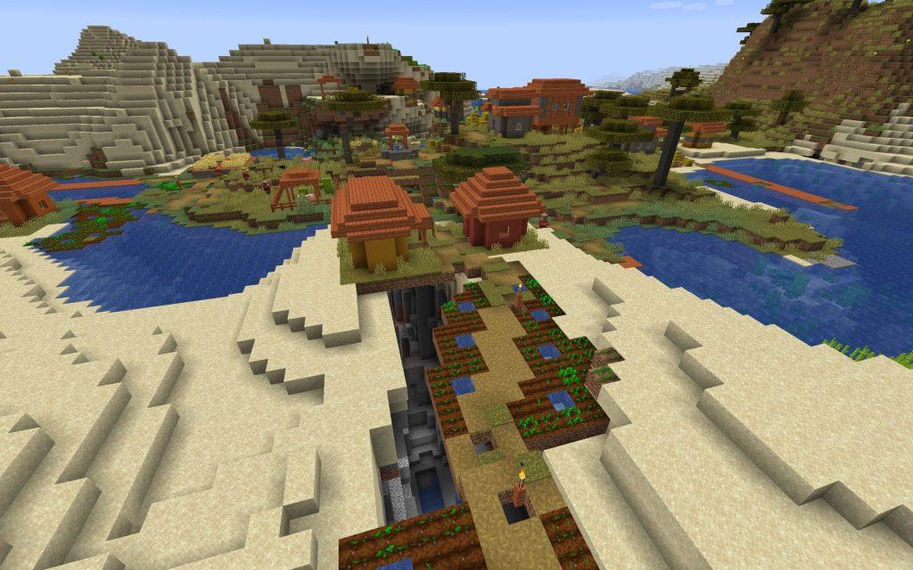 Java Edition Mineshaft Inside Ravine Under Spawn Village