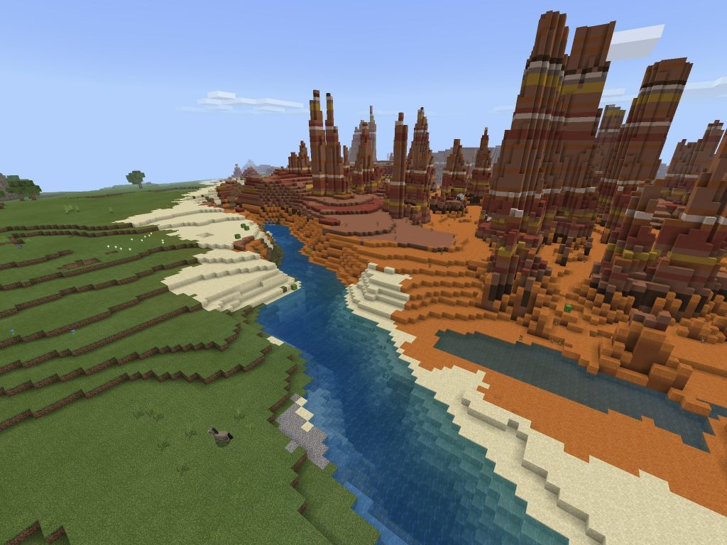 Bedrock Badlands with Exposed Spawner and Ravine Dungeon [1.11+]